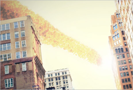Asteroid fire effect made in After Effects